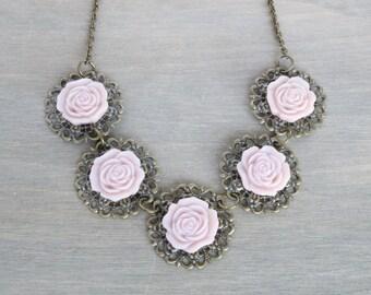Lavender Rose Bronze Necklace, Vintage Inspired, Rose Necklace, Purple Necklace, Purple Rose Necklace, Resin Rose Necklace, Statement