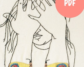 Embroidery Patterns,  Hand Embroidery Patterns, Girl with butterfly tattoo PDF