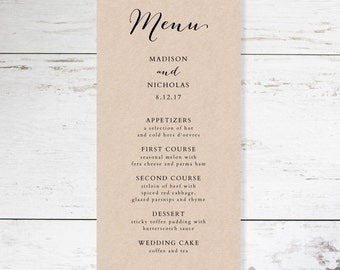 Wedding Menu Template - Rustic Wedding Menu - Printable Menu - YOU edit in WORD - print on Kraft