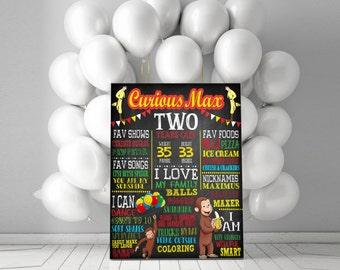 Curious George Birthday Chalkboard Sign - Milestone Sign - First Birthday, Second Birthday