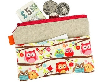 Owl coin purse, Zipper pouch, Change purse, Card holder, Girls coin purse, Coin pouch, with pocket, Stocking filler, Owls, Owl Gift, Fabric