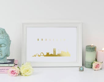 Brasília Print, Brasília Skyline, Brasília Cityscape, Skyline Art,Real Gold Foil Print, Home Decor, Brazil Print, Brazil Cityscape, Brazil