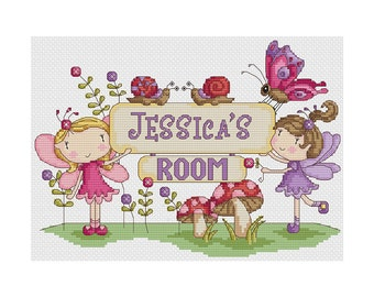 Fairy Room Plaque - Durene J Cross Stitch Pattern