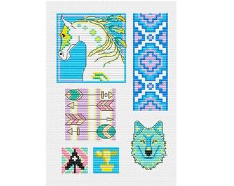 Native American Motifs - Durene J Cross Stitch Patterns - DJXS 2210