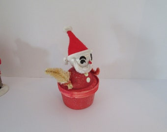 Vintage Santa Claus candy box with bottle brush tree, Chenille face and arms, felt hat, kitchy Christmas