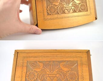 Vintage Carved Wooden Box, Lidded Box with Intricate Carving Decoration, Traditional Wood Box, Carved Flower Box, Folk Art Carved Box
