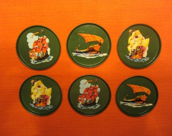 Set of Six Metal/Tin Drink Coasters with Old Sailing Ships in a Olive Green background - Made in the 1970s.