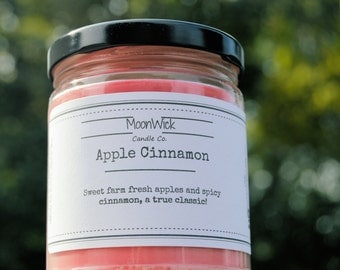 Apple Cinnamon Natural Soy Candle   8oz Glass Jar   Fall Candles   Highly Scented Candles   Holiday Candles   Christmas Gifts   Apple Cin