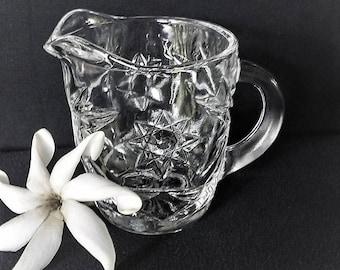 Glass Creamer Starburst Pattern, Star of David Pattern Clear Glass Creamer, Pressed Glass Creamer, Vintage Cut Glass Creamer