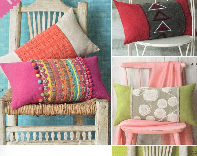 Free Us Ship Craft Sewing Pattern Simplicity 1440 Lumbar Pillow Cover and Wrap Out of Print New