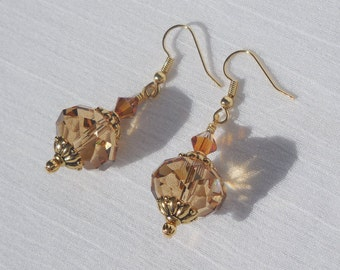 Swarovski crystal and gold earrings