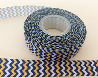 Yellow and blue chevron ribbon, gold chevron ribbon,yellow  chevron, 7/8 inch Grosgrain ribbon, perfect for hairbows, scrapbooking and more