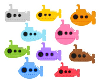 70% OFF Colorful Submarine Cliparts, Colorful Submarine Clipart Graphics, Personal & Small Commercial Use, Instant Download
