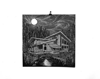 Cabin in the Woods - 15x15 Art Print