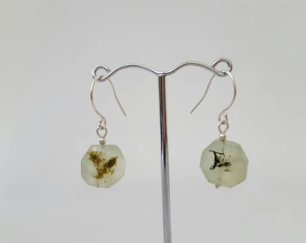 Faceted prehnite (grapestone) and sterling silver earrings. Pretty pale green prehnite earrings. Simple silver earrings. Made in Australia