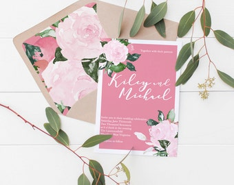 Floral Flower Pink Wedding Invitation Deposit
