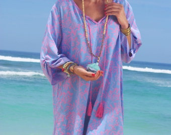 Beach Tunic/Tassels beach Short Dress/Bohemian beach cover up/Tassels long blouse/Beach wear * TULIS TUNIC