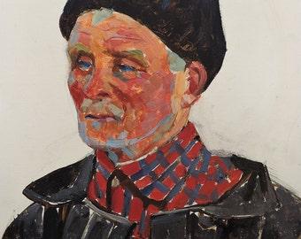 "Sale 30%! VINTAGE MALE PORTRAIT Old Original Oil Painting ""Grandfather"" by Soviet artist V.Kolesnik 1970s, Man's Portrait, Socialist Realism"