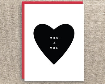 Gay Wedding Card - Lesbian Wedding Card - Mrs and Mrs Card  - Cute Wedding Card - Black and White Wedding Card - Simple Wedding Card