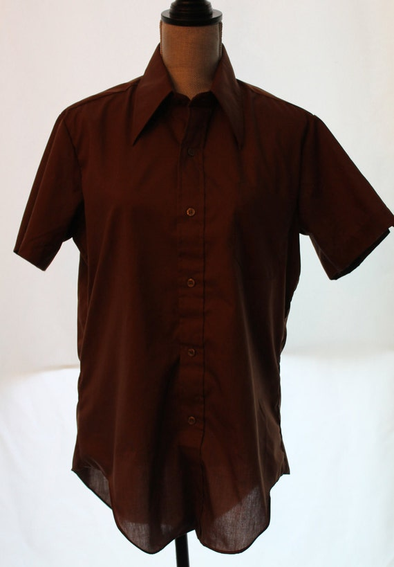 Vintage Brown Button Down Shirt Vintage Short Sleeve Shirt