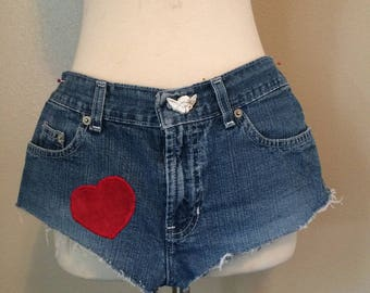 Denim Short Shorts With Patches