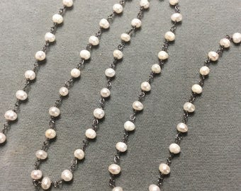 Pearl Oxidzed Sterling Silver Chain, 3-4mm, sold by the foot