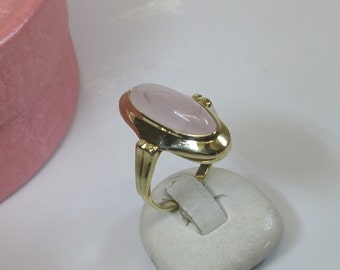 Beautiful ring gold 585 with Rose Quartz vintage GR210