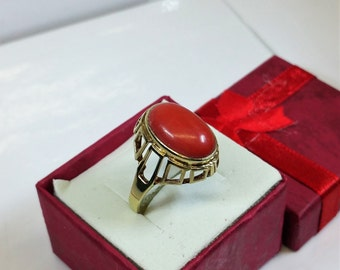 Ring gold shabby vintage old coral 333 GR143