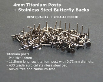 4mm Titanium Flat Pad Earring Posts + SS Butterfly Backs, 4mm Flat Pad Stud Posts, Titanium Earring Findings, Hypoallergenic, Made in USA