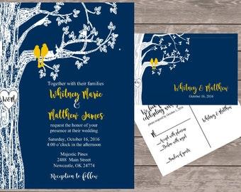 Navy Love Bird Invitation Set, Personalized Wedding Invitations, Birds In  Tree Wedding Invite,