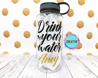 Drink Your Water Personalized 34 Oz Water Bottle | Water Intake Tracker | Fitness Sports Bottle | Customizable Gift | Several Color Options