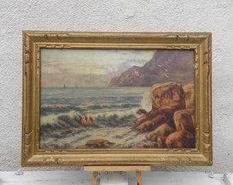 French vintage coastal oil painting, original vintage painting, original French art, shabby chic oil painting, country home, seascape art