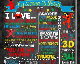 "Elmo Birthday Stat ""Chalkboard""(digital poster) BOY OR GIRL Colors"