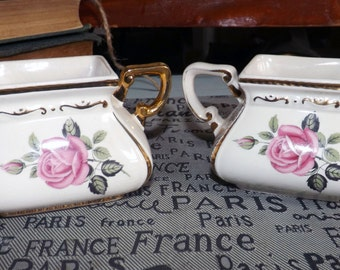 Beautiful (c.1920s) Ellgreave | Wood & Sons cream and sugar bowl set. Pink roses, gold edge, embossed gold, floral chintz accents