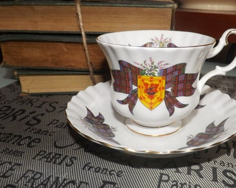 Vintage (c.1970s) Royal Albert Clan MacDonald tea set (footed cup w/matching saucer). Gold edge, accents. Scottish Tartan Series.