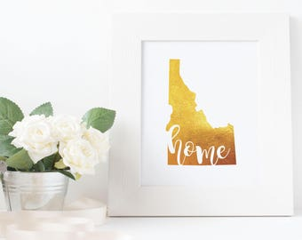 Idaho home printable | home state printable | home state silhouette | art print, wall art | Digital Download