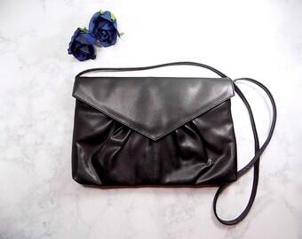 Vintage Large Black Handbag, 80s Black Purse, Large Black Purse, Large Black Clutch, Faux Leather Purse, Vintage Black Handbag, Large Purse
