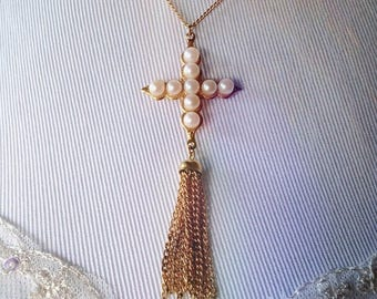 Vintage Faux Pearl Cross Necklace with Tassel/ Pearl Cross Pendant Necklace/ Bohemian Gold Cross Necklace/ Boho Tassel Necklace