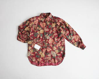 red floral shirt | floral blouse | 90s blouse