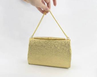 Vintage Gold Fabric Evening Bag with Snap Closure - Metallic Handbag - Gold Chain - Fashion Accessory - Vintage Retro Fashion