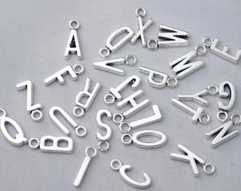 26 Alphabet Letter Charms Letter Pendants Antique Silver Tone 16x6mm