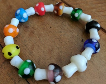 Multicolored Toadstool Stretch Bracelet