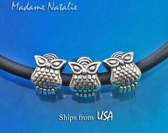 OWL Big Hole Beads (10 pc), European Style Beads 5mm Hole, Antique Silver Owl Large Hole Beads, Animal Theme Beads, Cute Owl Pandora Style