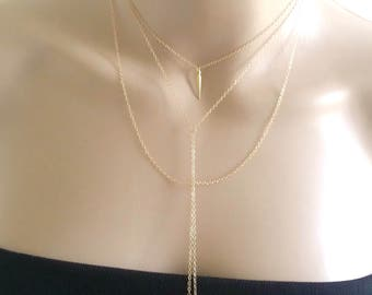 Gold Y Necklace, Layered Lariat, Dainty Y Layer, Lariat, Double Strand Lariat, Double Lariat, Double Chain Necklace, Gold Lariat Necklace