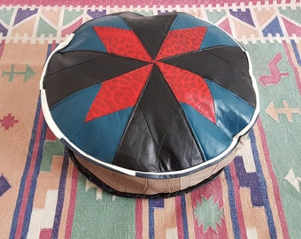 Small Cute Leather Pouf handmade genuine leather ottomans