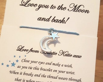 Love you to the moon and back, wish bracelet, to the moon and back, moon wish bracelet, dreamer, friendship bracelets, moon bracelet, moon