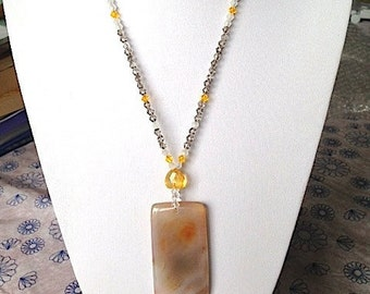 Twilight Sunset Agate Gemstone Pendant Beaded Statement Necklace