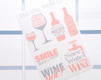 Pink & Grey Wine Quote Planner Stickers - Erin Condren Life Planner Vertical Layout