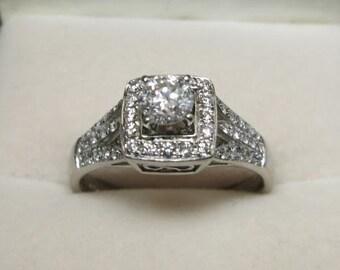 diamond engagement ring multi diamonds white gold 14k