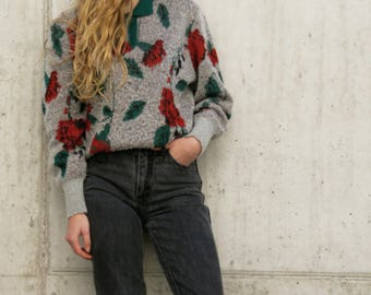 Vintage 80s Knit Jumper with Flowerprint All Over Size XS - S